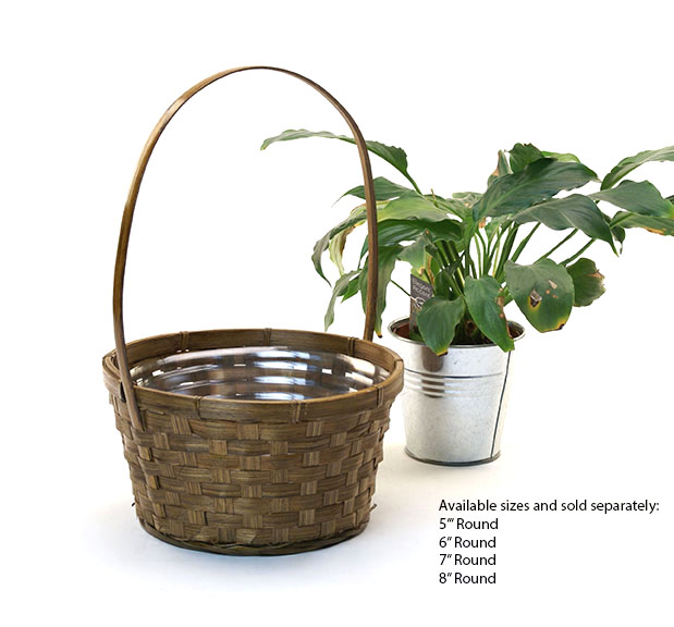 Stained Bamboo Shop Basket 5 inch