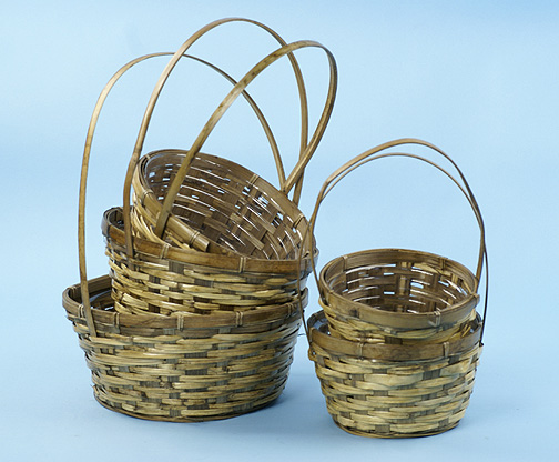 Stained Bamboo Round Shop Basket Set of 5