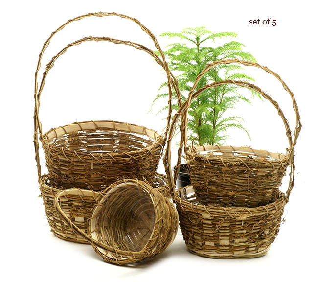 Vine Round Shop Basket Set of 5