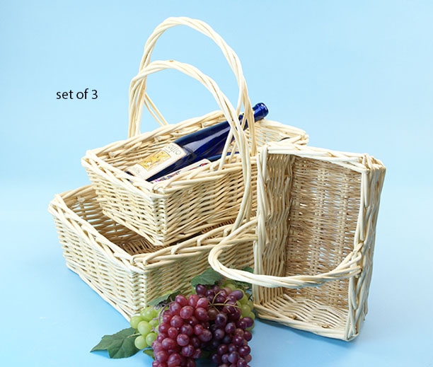 Willow Rectangle Shop Basket Set of 3