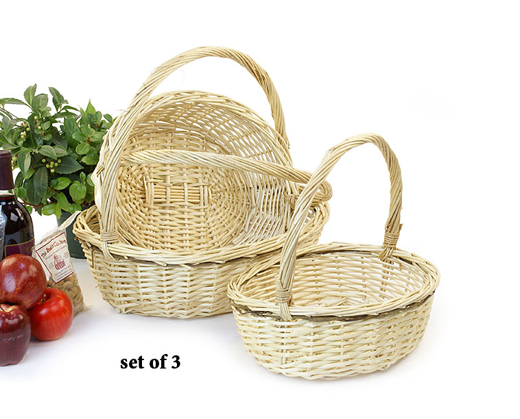 Willow Oval Shop Basket Set of 3