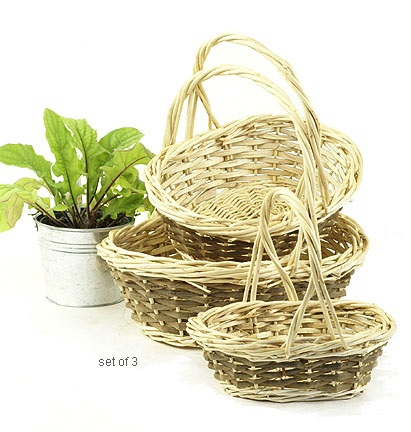 Two-Tone Willow Oval Shop Basket Set of 3