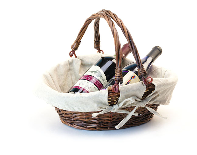 Willow Oval Basket with Double Folding Handle and Cloth Lining