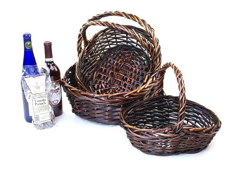 Willow Oval Boat Shape Basket Set of 3