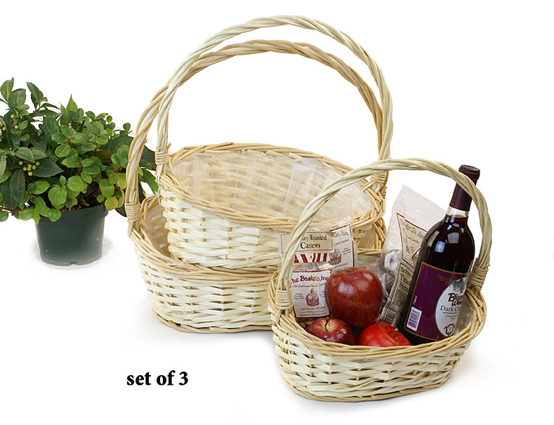 Light Willow Shop Basket with Low Front with High Back Set of 3
