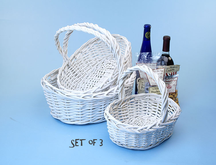 Willow Oval Shop Basket White Set of 3