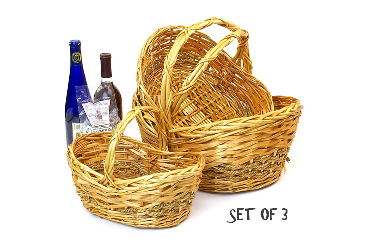 Willow and Rope Oval Boat Shape Basket Set of 3