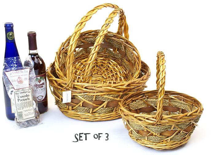 Woodchip, Rope and Willow Round Shop Basket Set of 3