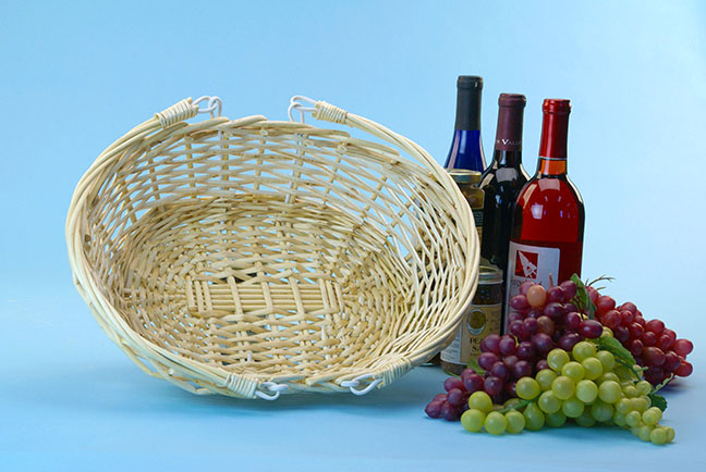 Willow Oval Shop Basket with Double Folding Handles