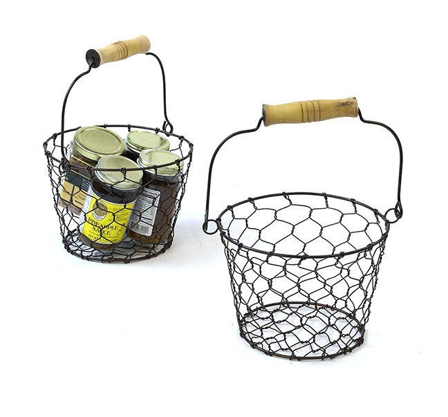 "7"" Chicken Wire Basket with Wood Handle Antique Brown"