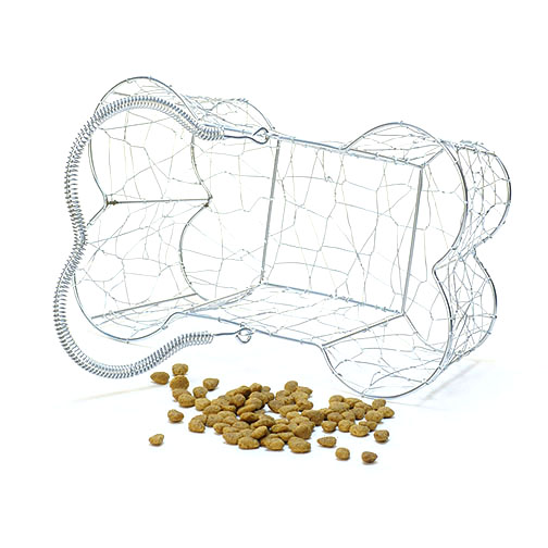 Large Wire Dog Bone Basket with Handle 12 inch