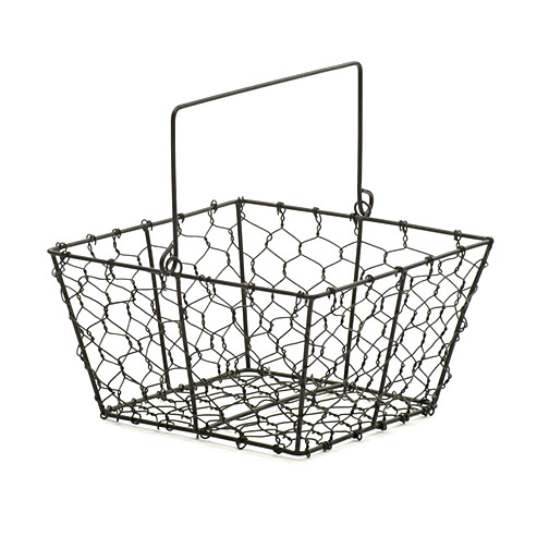 Chicken Wire Square Basket Black 8.5 inch