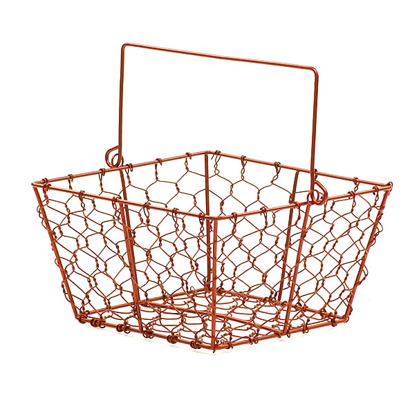 Chicken Wire Square Basket with Handle Red 6.5 inch