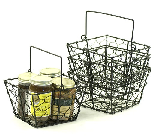 Chicken Wire Square Basket with Handle Black 6.5 inch