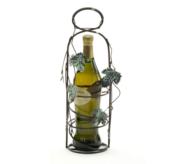 Wine Holder Wire Ivy Design with Powder Brown Antique Finish
