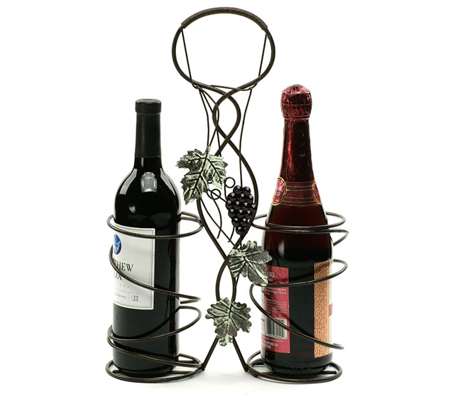 Doube Wine Holder Wire Ivy Design Powder Brown Antique Finish