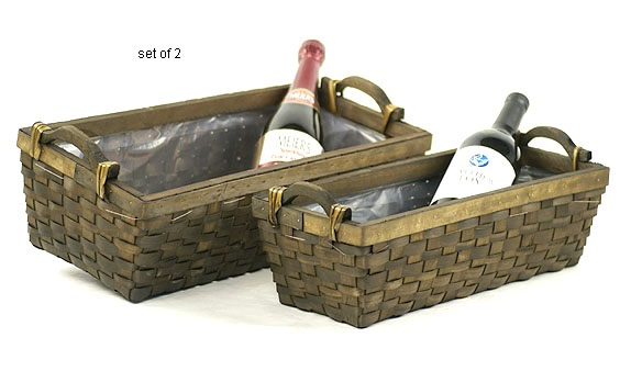 Stained Woodchip Rectangle Basket Tray Set of 2