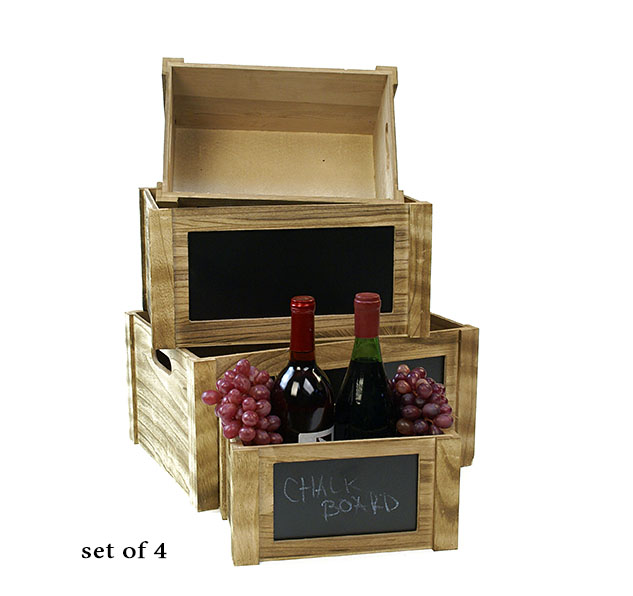 Wood Crate Set of 4 Burnt Finish with Chalkboard - Click Image to Close