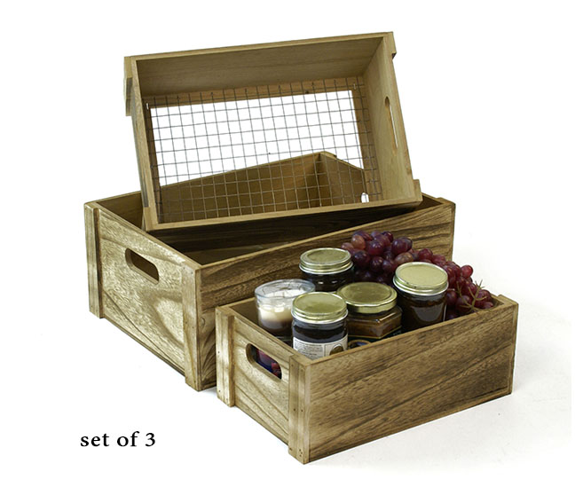 Wood Crate Set of 3 Burnt Finish with Wire Bottom