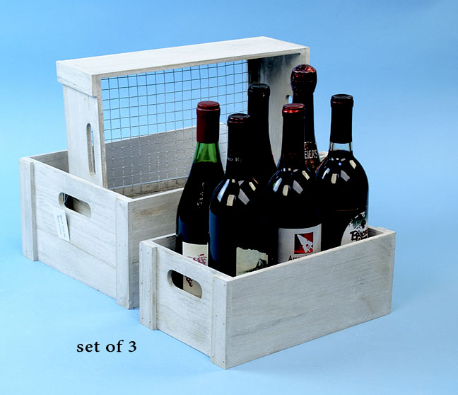 Wood Crate Set of 3 Grey White Wash with Wire Bottom