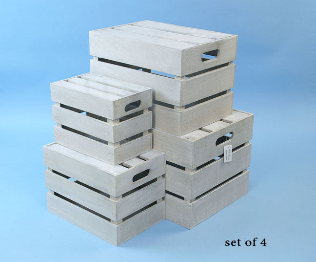 Wood Crate Set of 4 Grey White Wash with Lid
