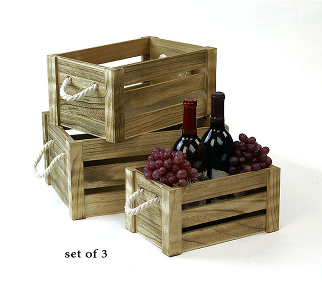Wood Crate Set of 3 Burnt Finish with Rope Handles