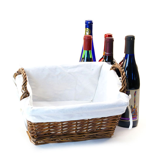 Willow Rectangle Basket with Cloth Lining 13 inch