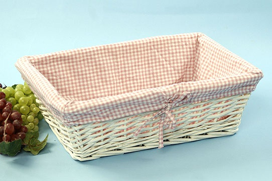 Rectangle Willow Painted White with Pink Checkered Cloth Lining
