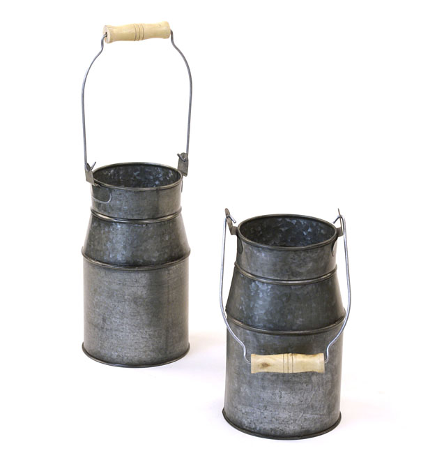 Metal Galvanized Milk Can Pewter Finish