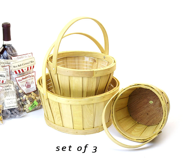 Round Woodchip Basket with Folding Handles Natural Set of 3