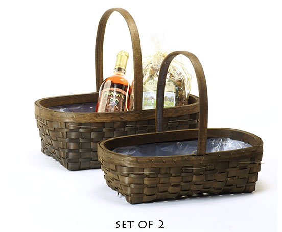 Stained Woodchip Oval Shop Basket with Folding Handle Set of 2