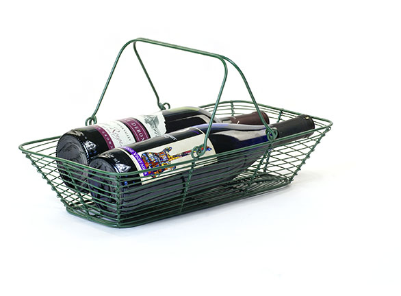 Wire Rectangle Market Basket Green 14 inch
